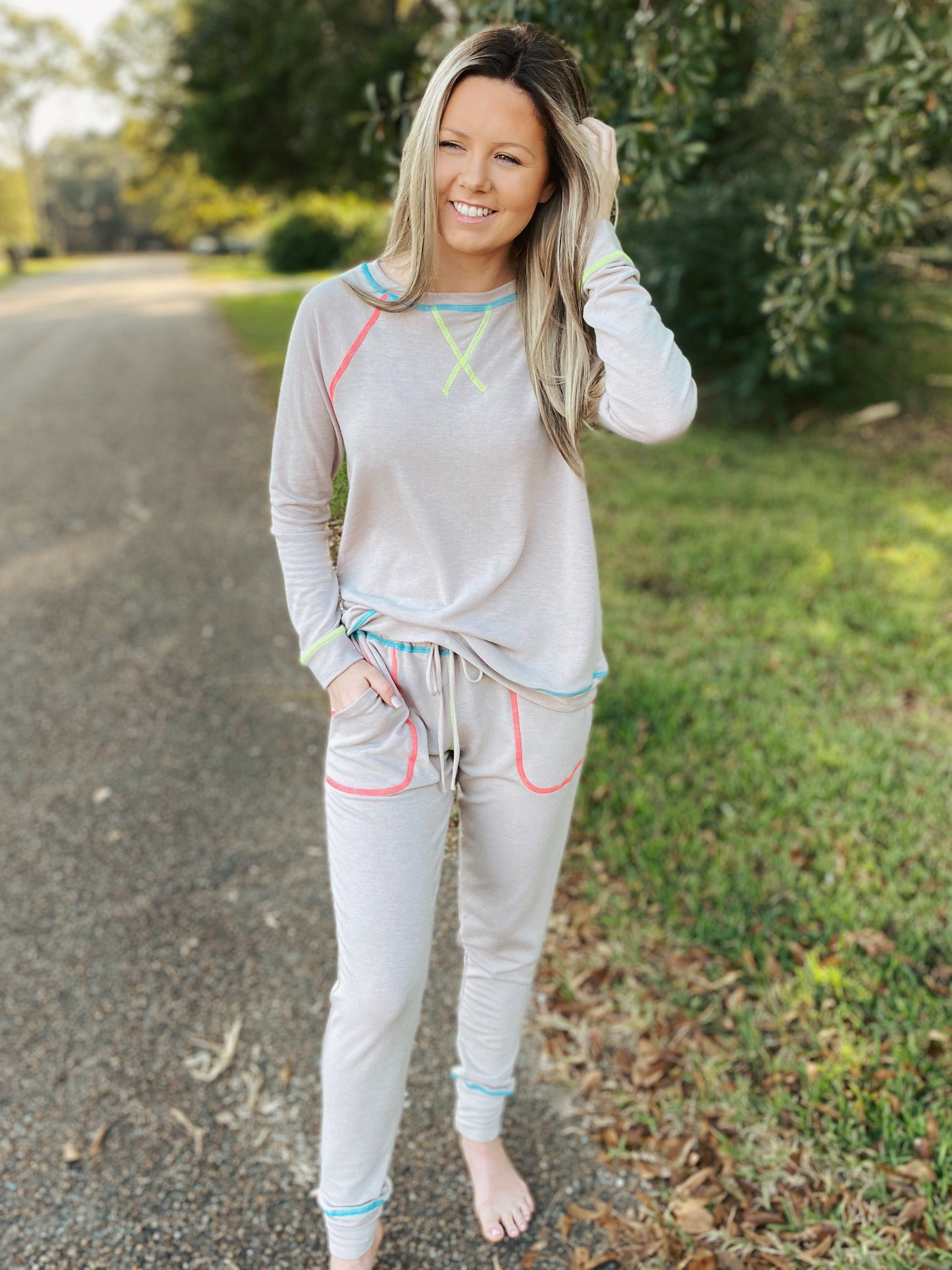 Take A Hint Taupe Two Piece Long Sleeve Jogger Lounge Set Curvy & Regular