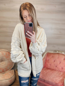 Ivy and Pear Bubble Sleeve Open Front Cardigan