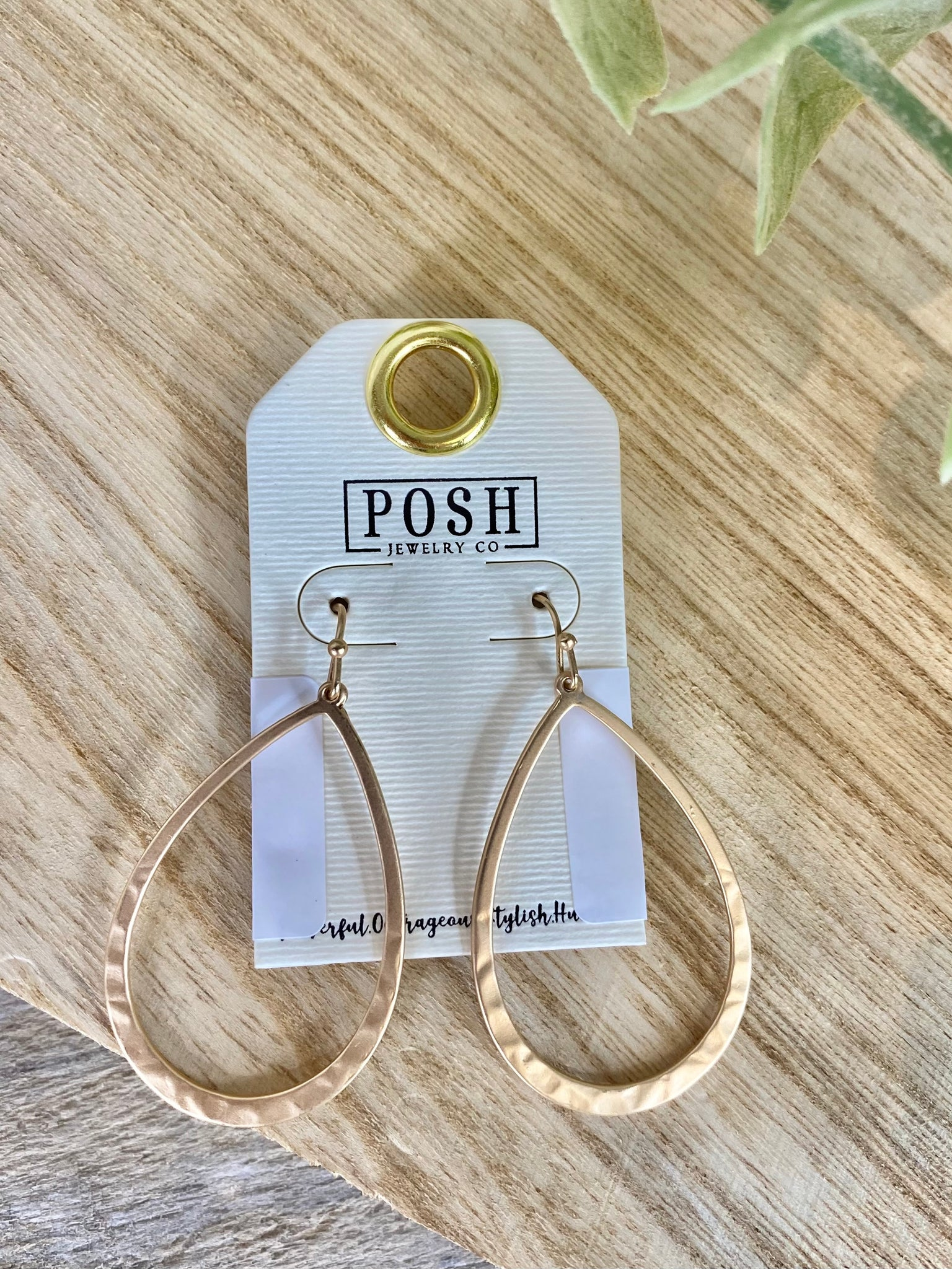 POSH Simple Gold Lightly Hammered Tear Drop Earrings