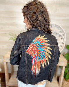 Andree Indian Head Distressed Denim Jacket