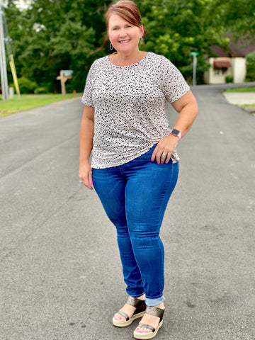 Navy Frost High Rise Super Skinny Curvy Ladies Jeans - Jessi Jayne Boutique