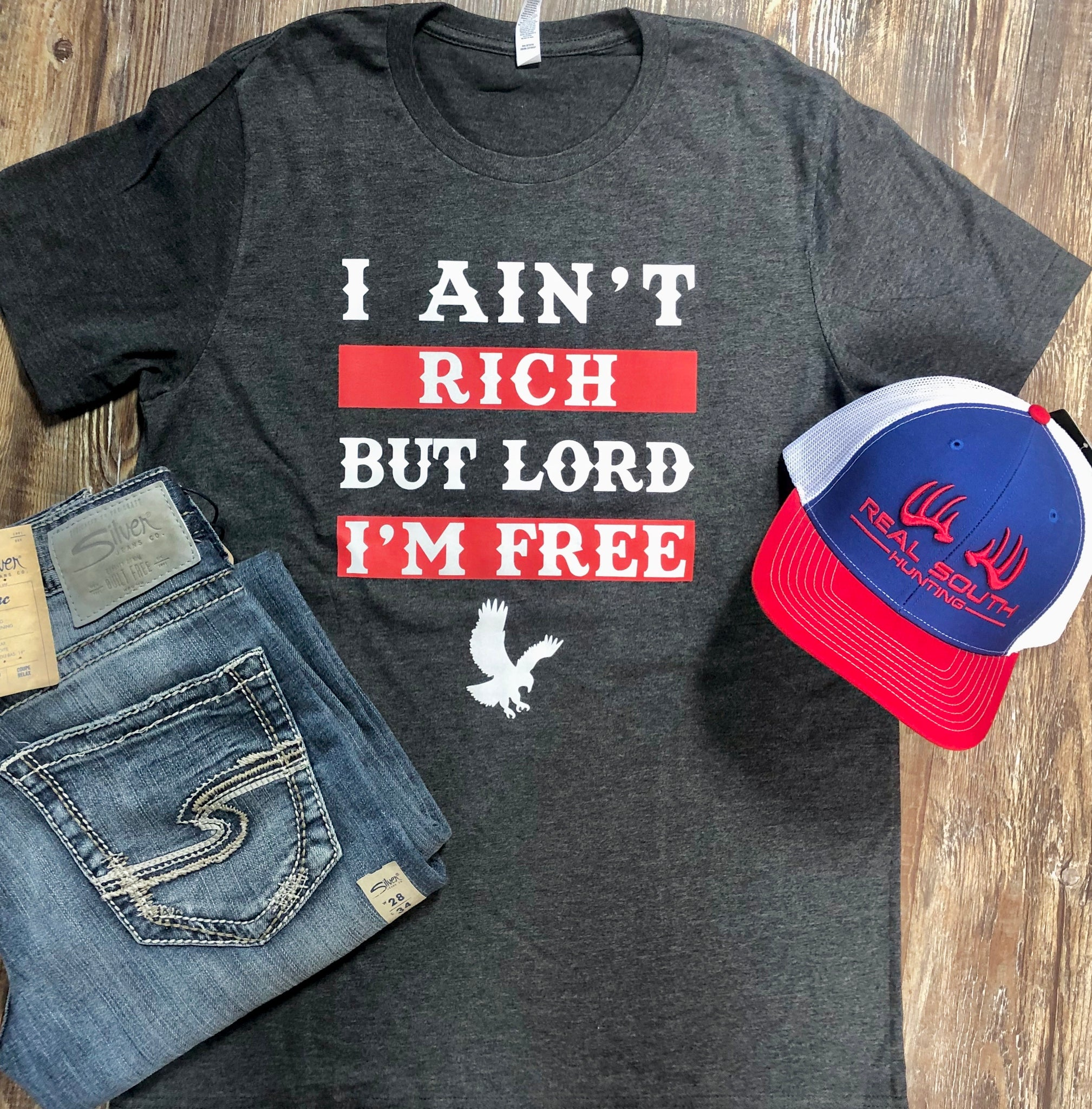 I Ain't Rich But Lord I'm Free Heather Grey Men's Tee Medium - Jessi Jayne Boutique