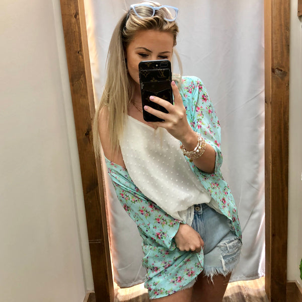 Sea To Shiny Sea Fun Floral Open Front Kimono - Jessi Jayne Boutique