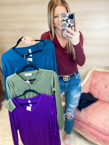 Secret Story V Neck Long Sleeve Top (4 Colors)