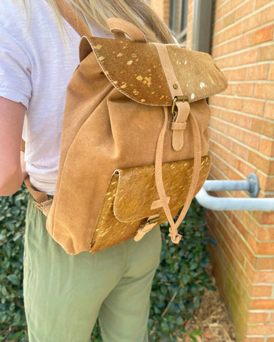 Jane Marie Gold Foil Hairon & Suede Bessie Backpack