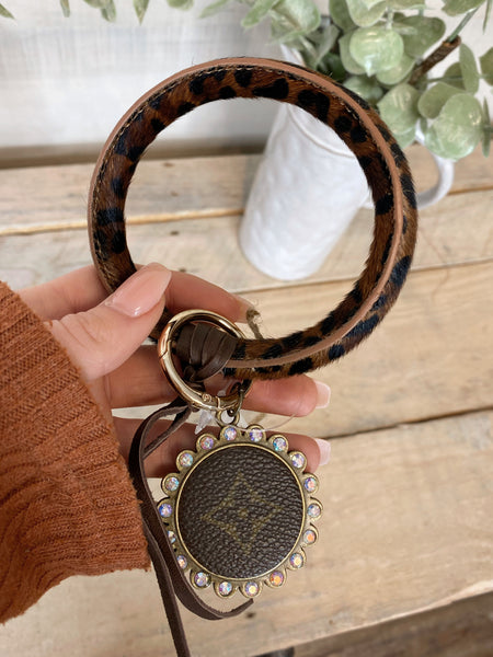 SL Repurposed LV Leopard Hide O-Rings Keychains with Charm