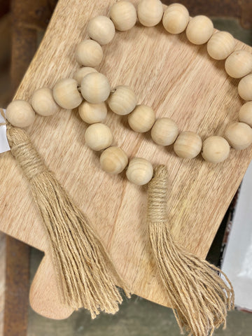 Natural Wood Bead With Jute Tassel