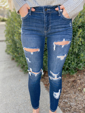 Shark Bait Distressed Mid Rise Skinny Jeans