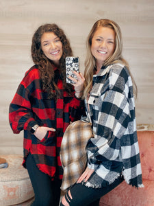 Oversized Ole Faithful Button Up Plaid Shirt Jacket (reg-curvy)