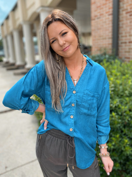 Sweet Grace Button Down Denim Top