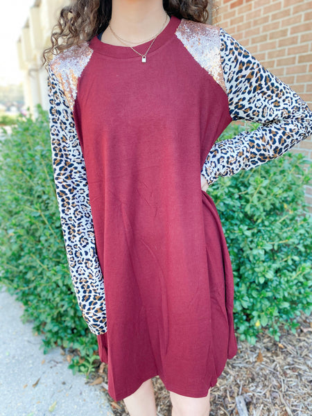 Shimma Shimma Leopard Print Sequin Contrast Long Sleeve Dress (2 Colors)