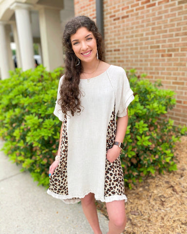 Linen Leopard High Low Hem Dress (reg-curvy)