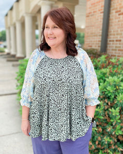 Mad Eye Martini Curvy Ladies Mixed Print Top