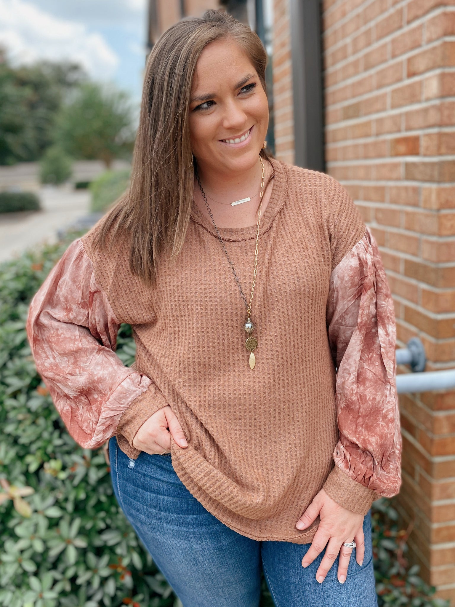 Contrast Waffle Knit Tie Dye Bubble Sleeve Curvy Top