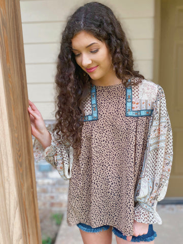 South Western Bubble Sleeve Top