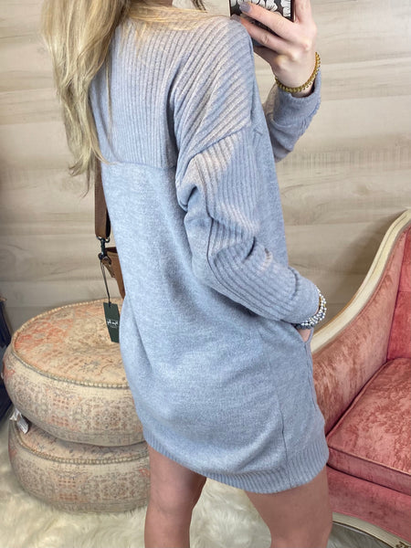 Mindful Unwind Grey Sweatshirt Dress S-2X