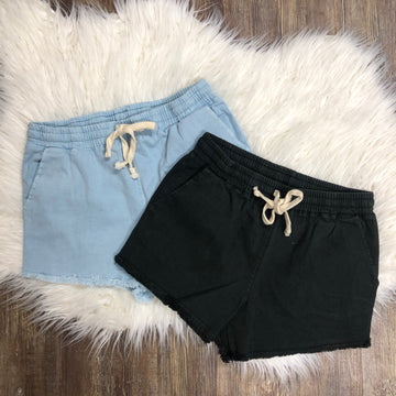 Time For Spring Drawstring Shorties Frayed Ends