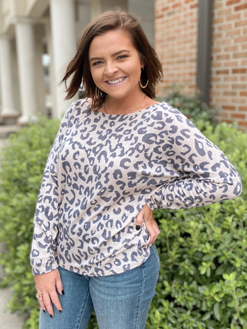 Sweet Escape Leopard Long Sleeve Top Sm-3X