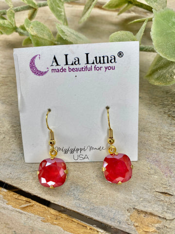Red Hot 12mm A La Luna Hook Earrings