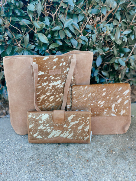 Jane Marie Gold Foil Hairon & Suede Cross Body Purse