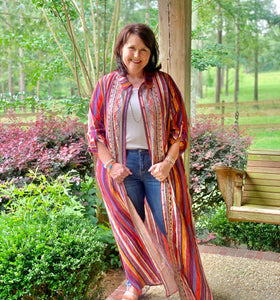 True Colors Multi Embroidered Button Down Kimono - Jessi Jayne Boutique