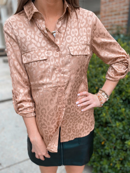 Sugar Sweet Leopard Long Sleeve Button Down Blouse