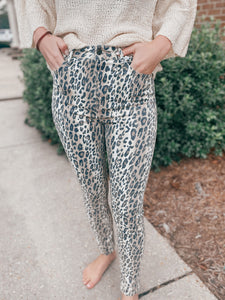Wowza Leopard Cello Reptile Overlay Crop Skinny Jeans
