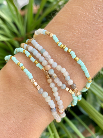 Amazonite Seed Bead Bracelet Set - Jessi Jayne Boutique