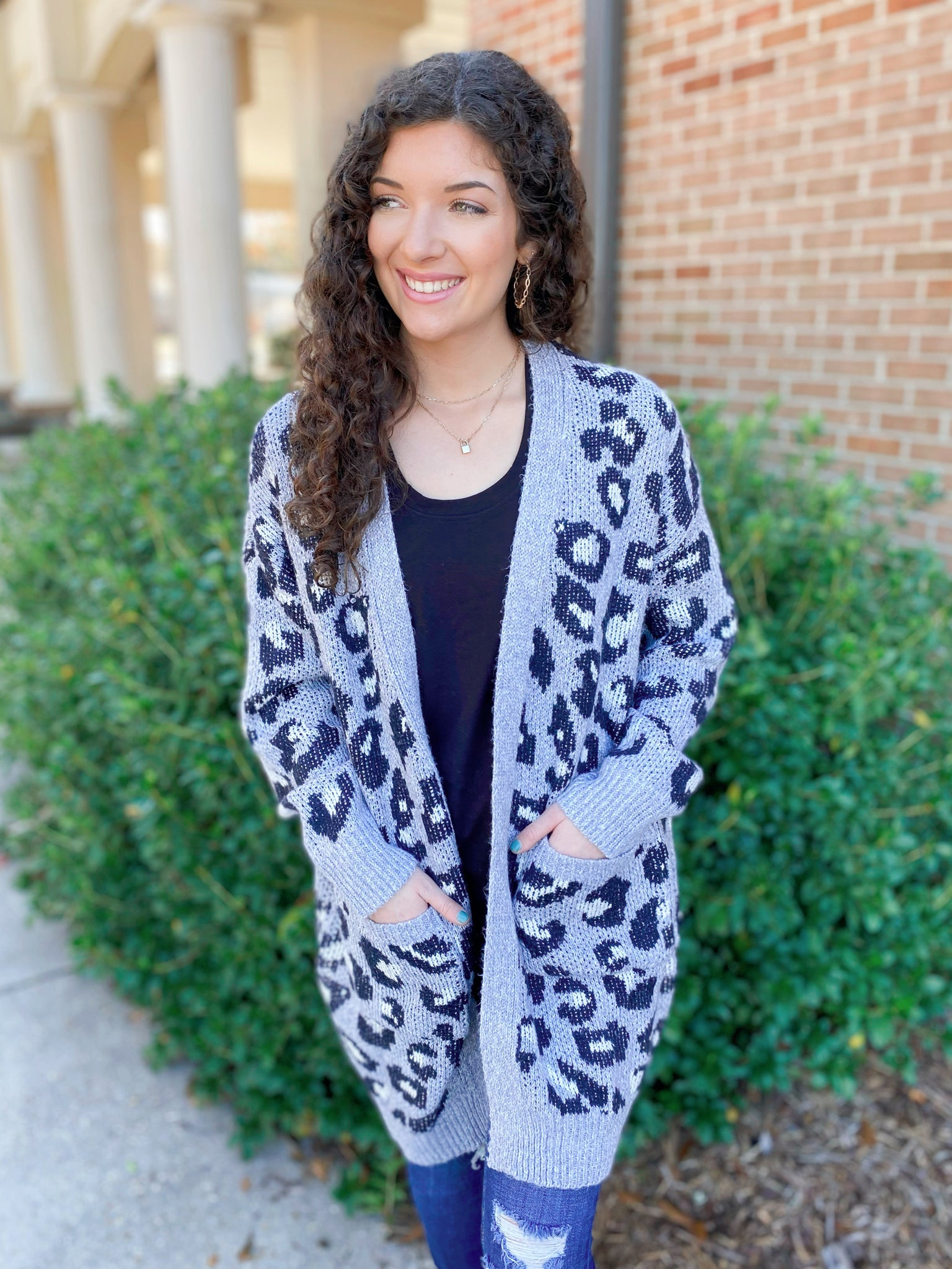 Wicked Fierce Heather Grey Leopard Print Knit Cardigan