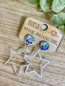 Pink Panache Silver Star Dangle Earrings