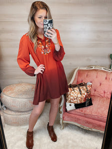 Ruffle Your Petals Rust Embroidered Dip Tie Dye Balloon Sleeve Dress