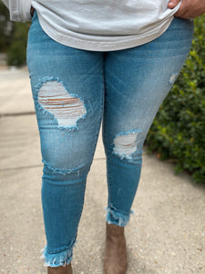 Beauty & The Beach Distressed Double Hem Fray Curvy Jeans