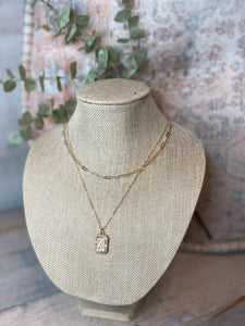 Double Layer Chain Initial Pendant Necklace