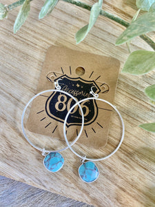 806 Silver Hoop Earrings with Turquoise Marble Stone
