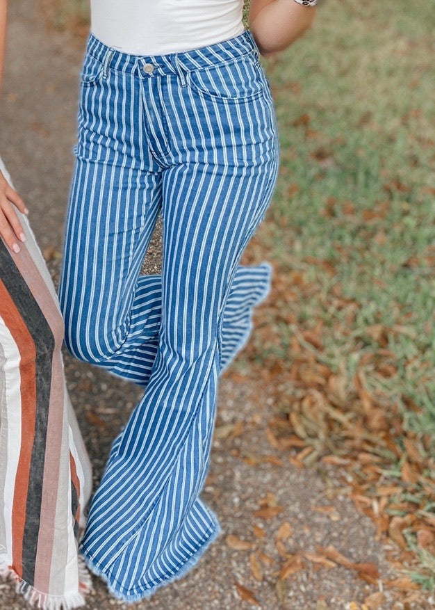 Not So Low-Key Striped Mid Denim Flares
