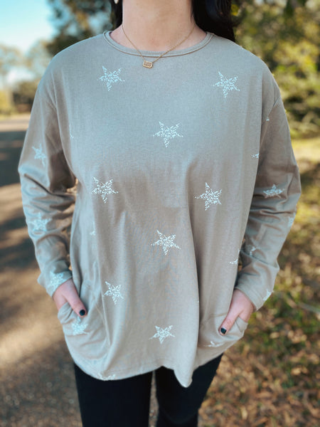 Starry Tropez Sand Long Sleeve Top