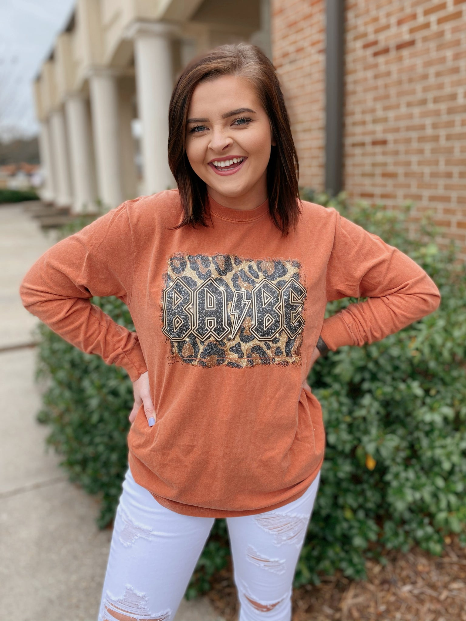 BA-BE Burnt Orange Long Sleeve Graphic Tee