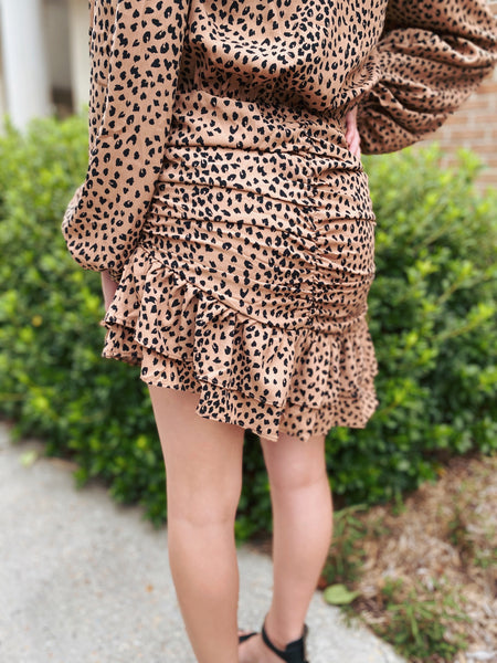 Toffee Asymmetrical Ruched Long Sleeve Dress
