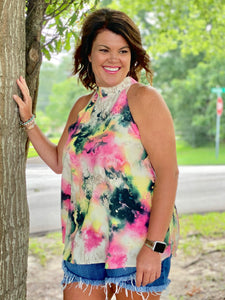 Water Color Printed Halter Tank - Jessi Jayne Boutique