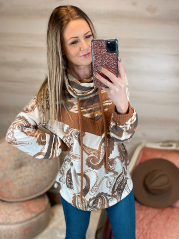 Old Town Road Brown Paisley Cowl Neck Long Sleeve Top (Reg&Curvy)