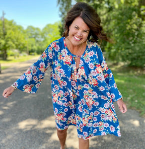 Beach Babe Blue Floral Bell Sleeve Curvy Dress - Jessi Jayne Boutique