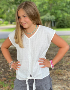 Cloud White Linen Kids Top - Jessi Jayne Boutique