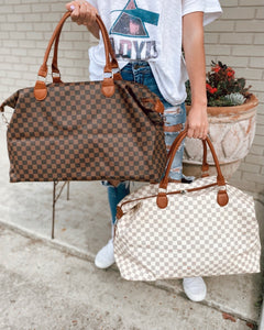 Lindsey Checkered Weekender Bag