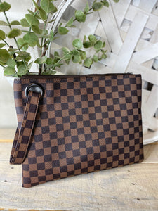 Feeling Luxurious Cosmetic Pouch Brown Plaid