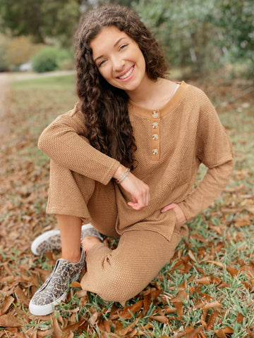 Mid-Day Mocha Taupe Solid Sweater Pullover Lounge Knit Top