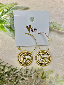 Vintage Antique Bronze Gucci Hoop Earrings