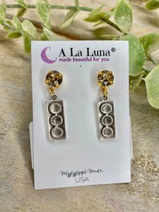 Mix Match Antique Silver Rectangular Dangle with Crystal Stud Earrings A La Luna