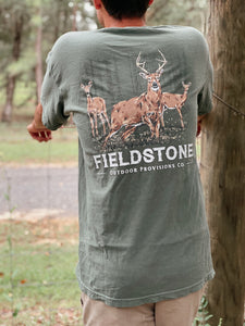 Men's Deer Herd Olive T-Shirt Fieldstone