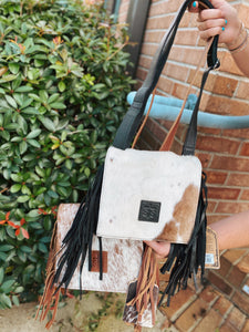 Cowhide Miss Kitty Crossbody Purse