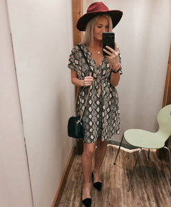 Snake Dolman Sleeve Dress